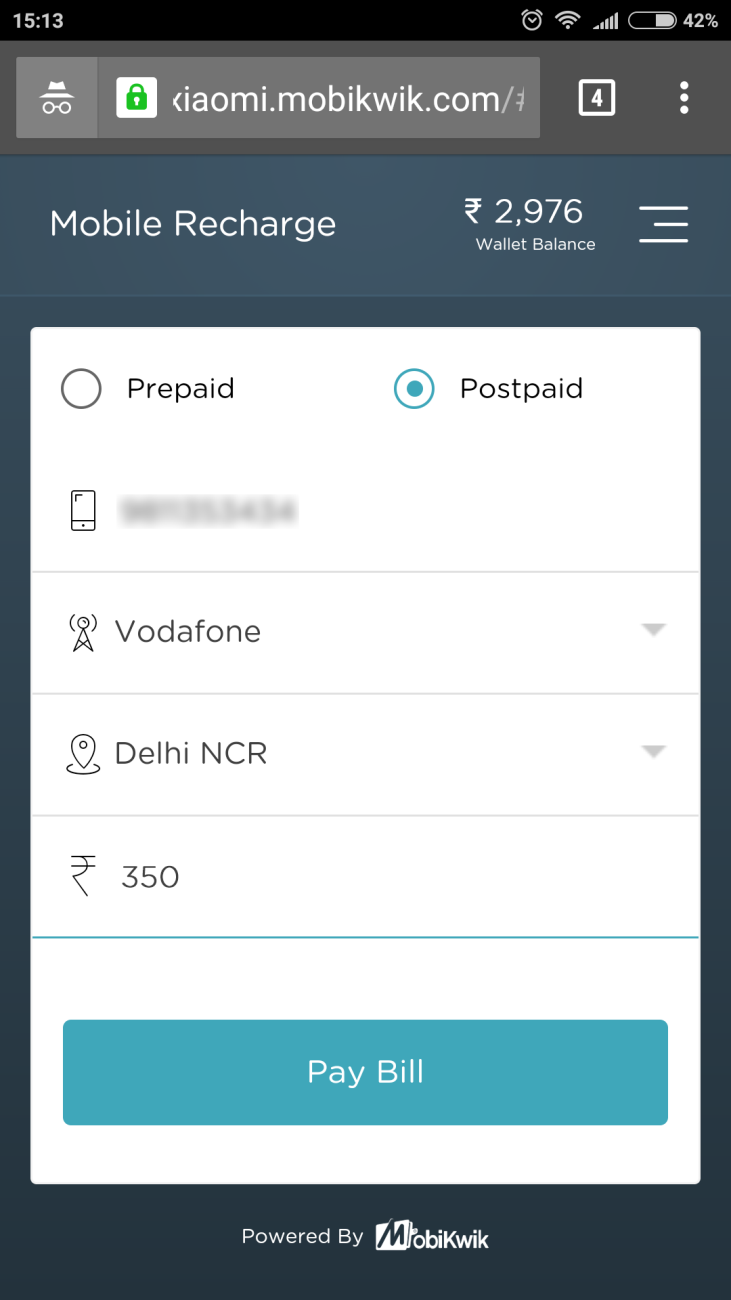 Instant recharge with MobiKwik